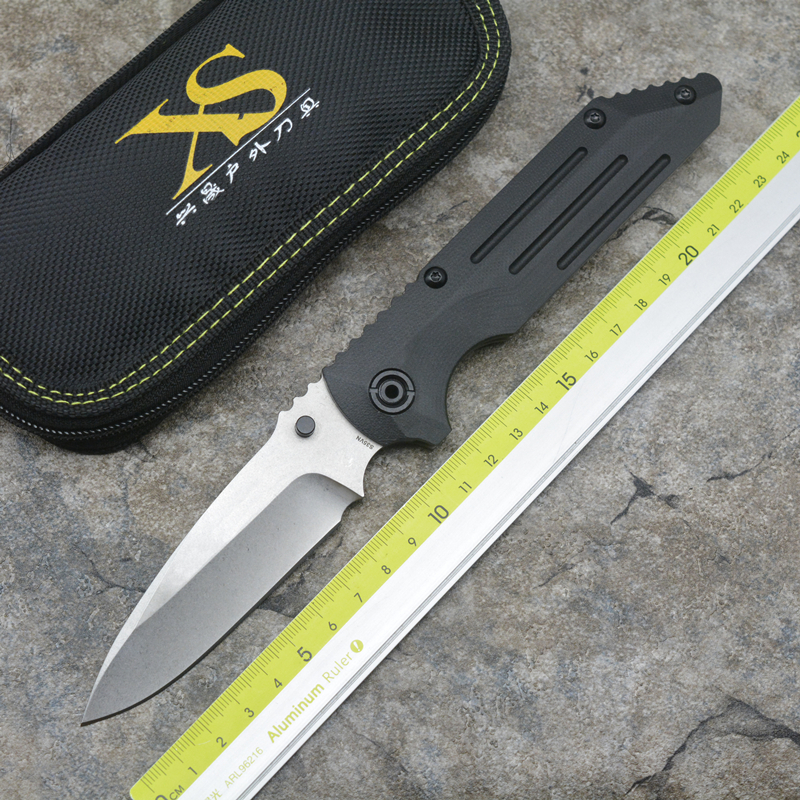XS- B0610 flipper folding knife S35VN blade Titanium + G10 handle outdoor hunting camping pocket fruit knives EDC tools green thorn made dark flipper folding knife d2 titanium blade g10 handle outdoor survival hunting camping fruit knife edc tools