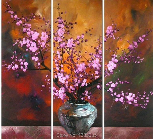Hand Painted Abstract Flower Vase Painting Wall Art On Canvas 3