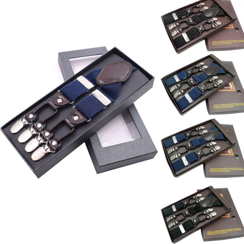 KLV Men Y-Shape Solid Or Dot Suspender Non-Slip 6 Clips Elastic Adjustable Braces