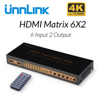 Unnlink HDMI Matrix 6x2 UHD 4K@30 Switcher Splitter 6 In 2 Out Audio Extractor HIFI 5.1CH Toslink+3.5mm Jack ARC for TV Sticker