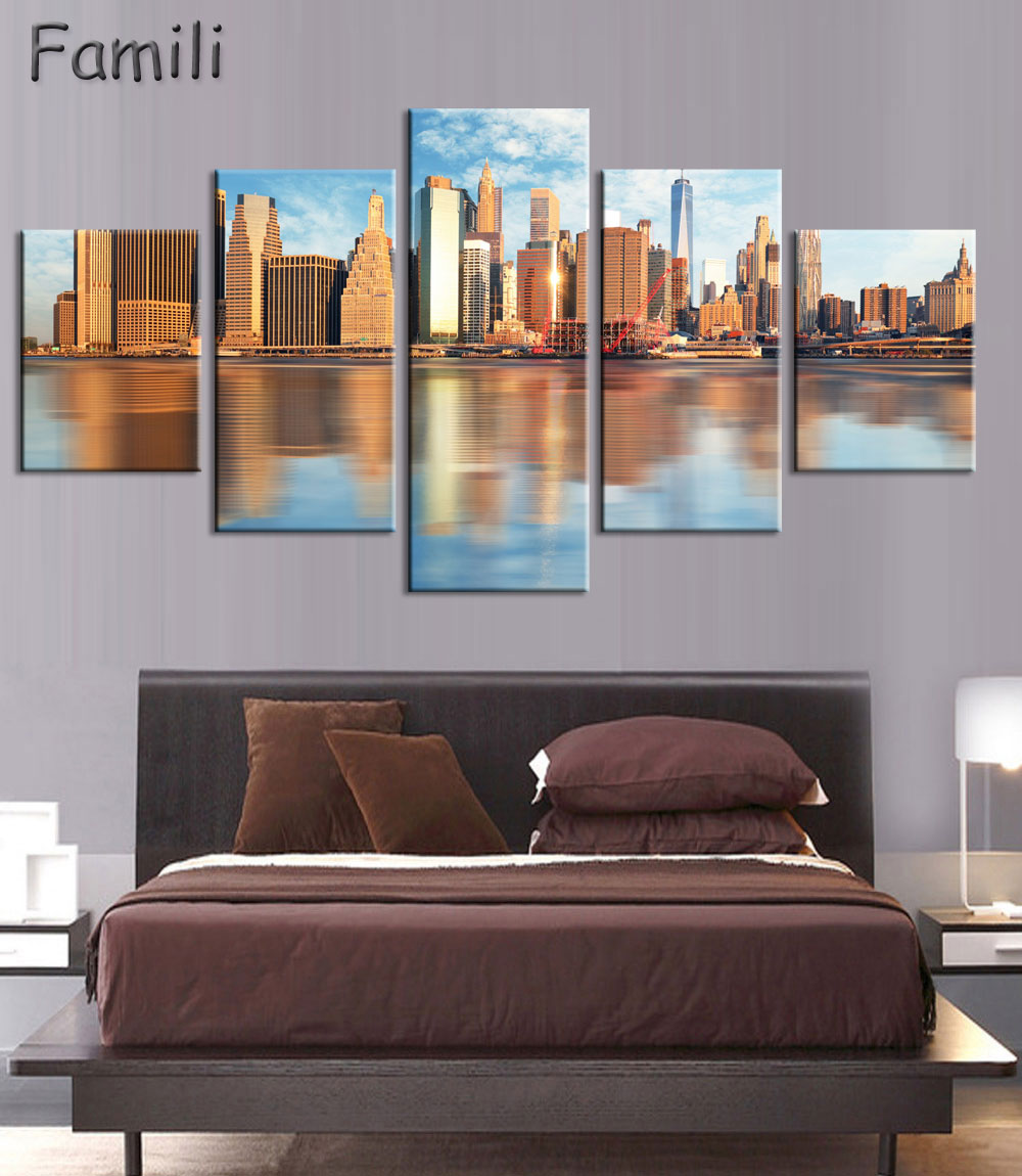 5pcs Pantings On The Wall Art Canvas Painting New York City Wall Pictures For Living Roo ...