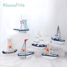 Wooden Sailing Boat Mediterranean Style Decorations Creative Ins Shooting Model Crafts Small Ornaments Home