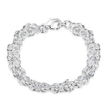 5PCS wholesale 925 Silver Bracelets For Women Faucet Buckle Round 20cm Bracelet Jewelry Fine Bracelet Quality Wholesale Retail фото