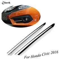 ФОТО  for honda civic 2016 2017 abs chrome front fog light eyelid eyebrow cover trim foglight lamp exterior protective