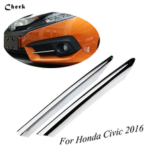 For Honda Civic 2016 2017 ABS Chrome Front Fog Light Eyelid Eyebrow Cover Trim Foglight Lamp Exterior Protective
