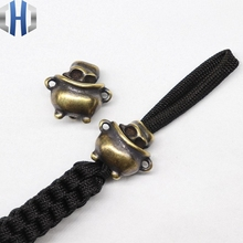 Pure Copper Knife Beads Brass DIY Outdoor Survival Tools Pendant Umbrella Drops EDC Cylinder Skull Paracord