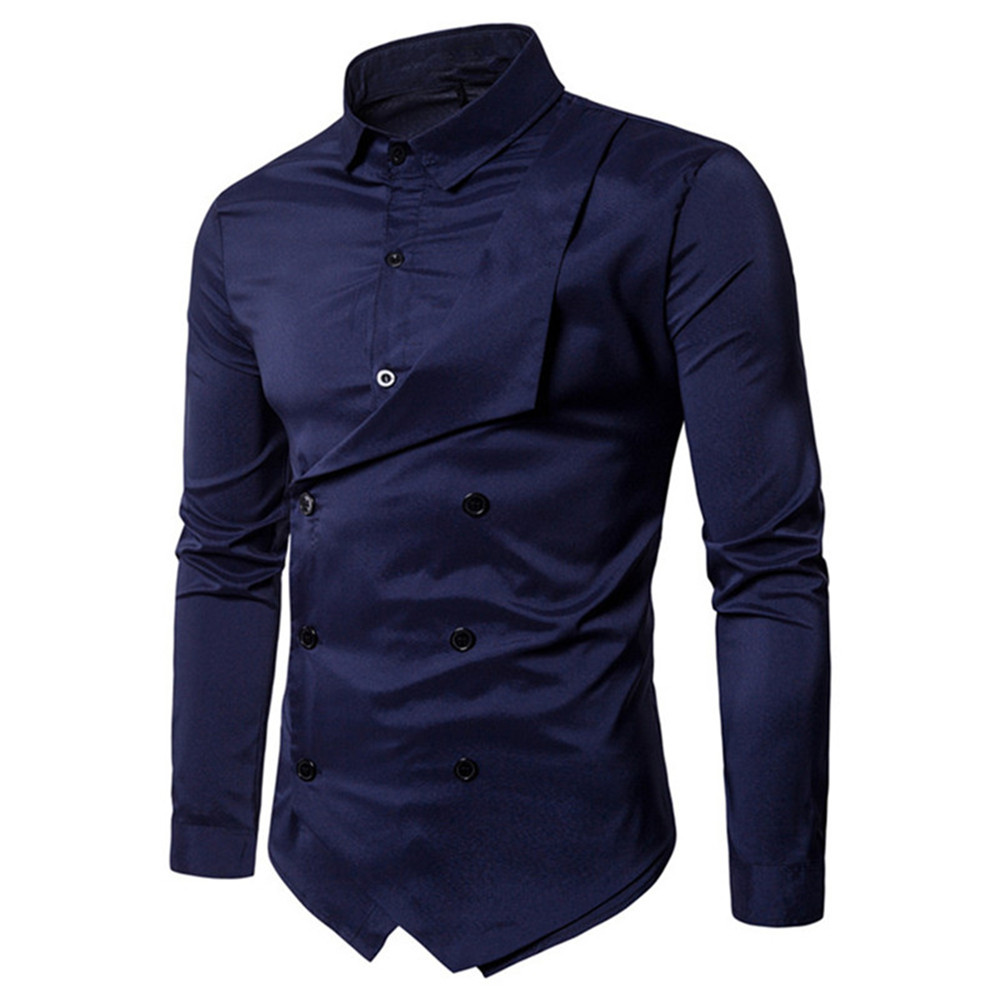 2019 Autumn Male Double Breasted Shirts Mature Man Party Wear Tops Long Sleeve Cotton Blusa Cool Streetwear Elegant Man Clothes