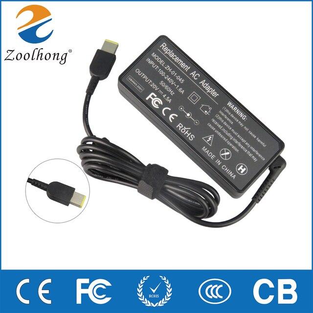 Zoolhong 20 v 4.5A AC Carregador Adaptador Para Thinkpad X1 Carbono, T540p Cabo de Alimentação Conector Quadrado