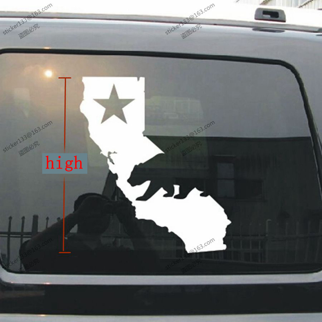 Map of california flag star bear car decal sticker cali state choose size and color