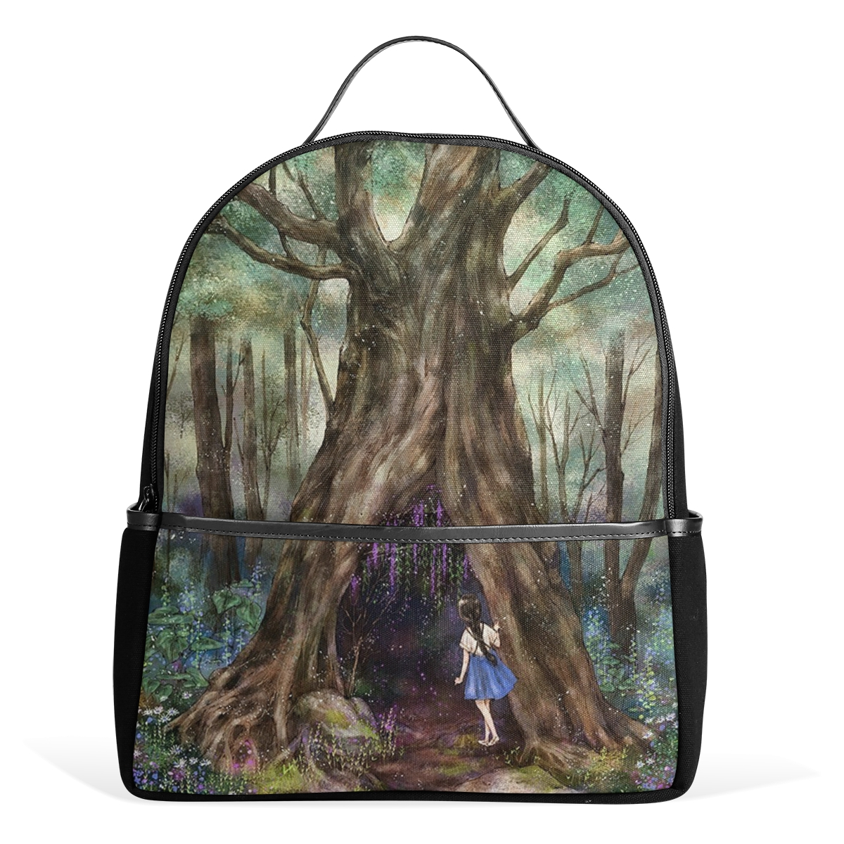 Hot Selling Fairy Tale Pattern Lovely Beautiful Innocent Little Girl Thick Trees Student Backpack Shopping Tourism