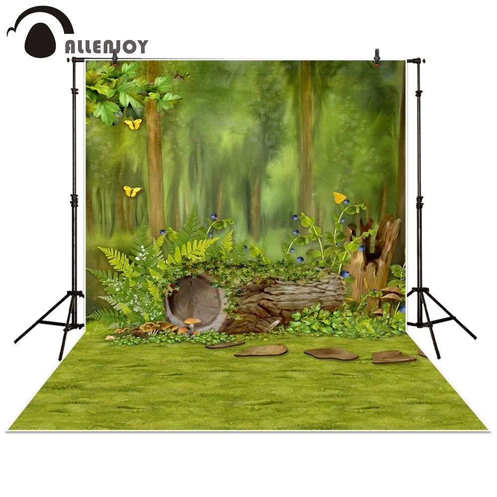 Allenjoy 사진 촬영 배경 포리스트 트리 나비 녹색 - 카메라 및 사진