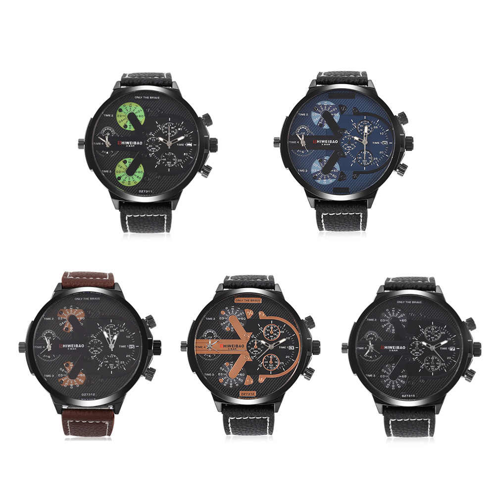 2018 ธุรกิจควอตซ์นาฬิกาผู้ชายแบรนด์กีฬาทหารนาฬิกา Dual Time Displ ขนาดใหญ่ dz สไตล์ Relogio Masculino Montre Homme