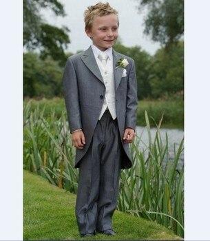 33c416dfd Mañana estilo Boy Esmoquin solapa niños traje niño gris boda baile Trajes  (chaqueta +