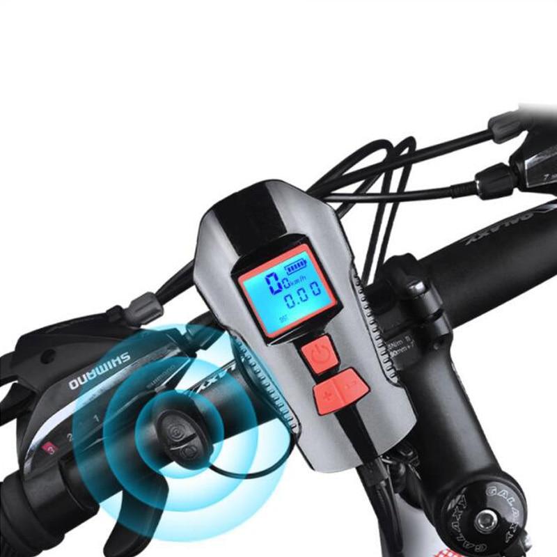 Bicycle Light USB 4 Mode Lamp  Bike Computer 6 Mode Horn Flashlight Cycle Bike Speedometer Led Front Lights Cycling Headlight