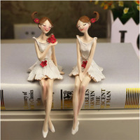 Home Flower Fairy White Sitting Angel Resin Crafts Ornaments Decorations