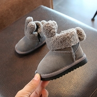 2018 NEW 12 14CM Genuine Leather Baby Girls Snow Boots Cute Warm Soft Winter Shoes Gray Toddler Boys Booties For 0 3Y Kids