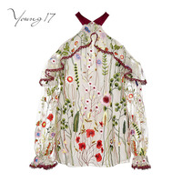 Young17 Blouse 2017 Summer Tops Burgundy Flower Embroidered Bow See Through Off Shoulder Lapel Vintage Blouse