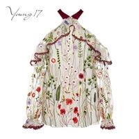 Young17 bluzka lato bluzki bordowy kwiat haftowane rocznika bluzka kobiety eleganckie piękna strona słodkie dziewczyny 2017 nowa bluzka