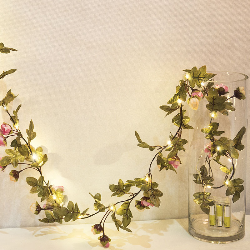 10M Flower Leaf Garland Battery Copper LED Fairy String For Christmas Wedding Decoration Party Event Rustic String Led Handmade