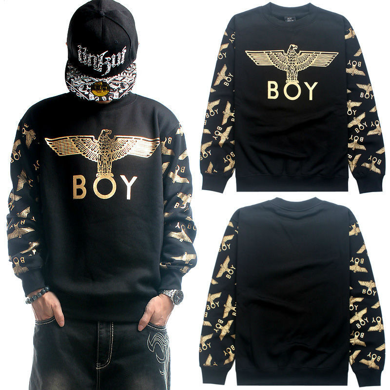 Sweatshirt Pullover Big Loose Thick Fleece Cotton Men 2014 BOY LONDON Hip  Hop Eagle BlackGrayGold O Neck Hoodie Blazer Hip Hop-in Hoodies   Sweatshirts ...