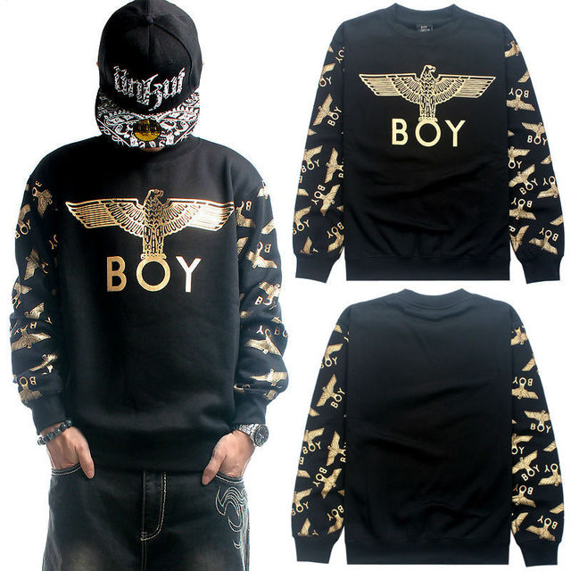005d79c2ee Sweatshirt Pullover Big Loose Thick Fleece Cotton Men 2014 BOY LONDON  Hip-Hop Eagle Black Gray Gold O-Neck Hoodie Blazer Hip Hop