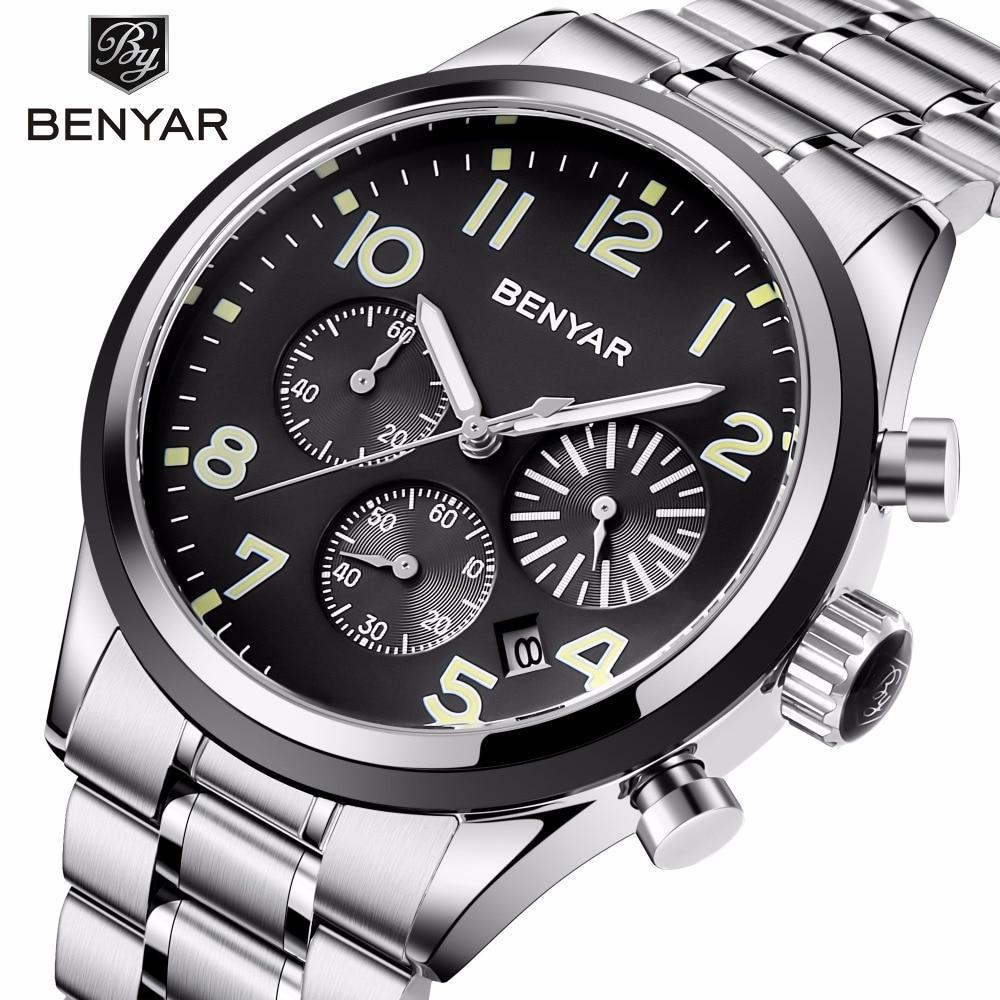 BENYAR 2018 Mens Watches Top Brand Luxury Quartz Watch Stainless Steel Bracelet Waterproof Wristwatch for Men Clock montre homme цена