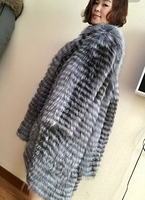 Europe and the United States new Finland silver fox whole skin fox fur jacket long section woven fur coat