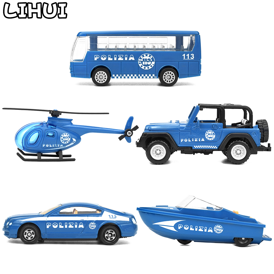 5 Styles Kids Toy Diecast Police Vehicles Mini Alloy Cars Model Toys For Children Cop Glide Car Truck Classic Toy Gifts For Boys