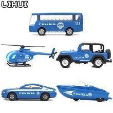 5 stylów zabawki dla dzieci Diecast pojazdy policyjne Mini samochody ze stopów zabawki modele dla dzieci Cop Glide Car Truck klasyczna zabawka prezenty dla chłopców