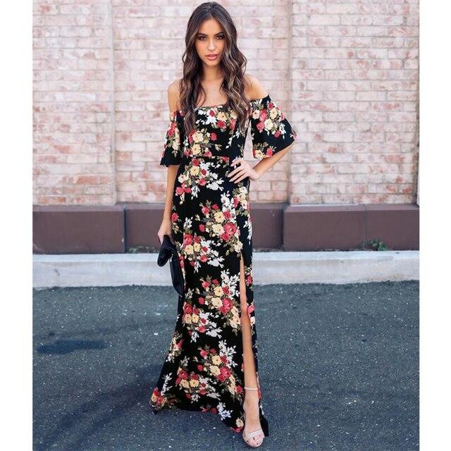 89624a97e4335 Aliexpress.com : Buy S XXL Sexy Off Shoulder Floral Print Loose Comfortable  Dress 2018 Women Summer Long Dresses Short sleeve Dress Casual Vestidos ...