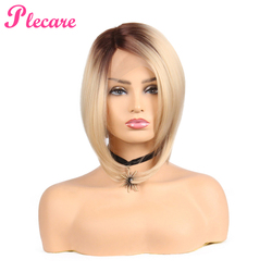 Plecare Short Bob Straight Synthetic Pruike Lace Front Wig Glueless High Temperature Heat Resistant Fiber Hair Women Wigs.