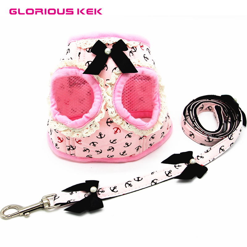 GLORIOUS KEK Dog Harness And Leash Set Soft Adjustable Small Dog Harness And Lead Cute Puppy Pink Sailor Walking Leads Chihuahua