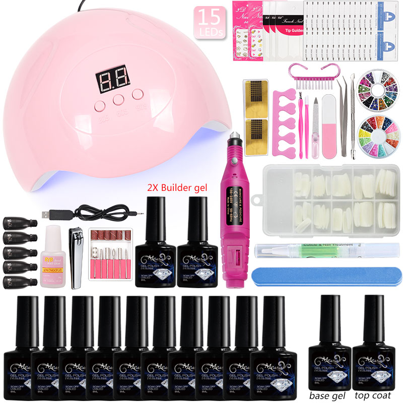 10 Color Gel Nail Polish Manicure Set Nail Kit Builder Uv Gel with 45/36w Led Nails Lamp Accessories Machine for Manicure Tools10 Color Gel Nail Polish Manicure Set Nail Kit Builder Uv Gel with 45/36w Led Nails Lamp Accessories Machine for Manicure Tools