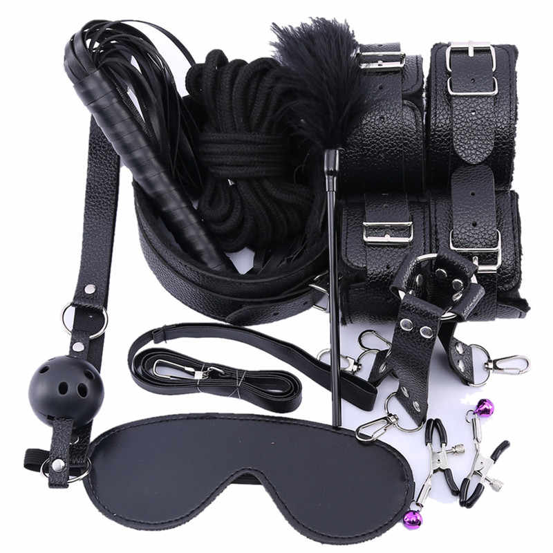 10 Pcs/set Sex Products Erotic Toys for Adults BDSM Sex Bondage Set Handcuffs Nipple Clamps Gag Whip Rope Sex Toys For Couples