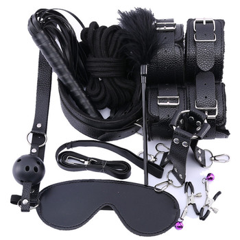 10 Pcs/set Sex Products Erotic Toys for Adults BDSM Bondage Set Handcuffs Nipple Clamps Gag Whip Rope For Couples