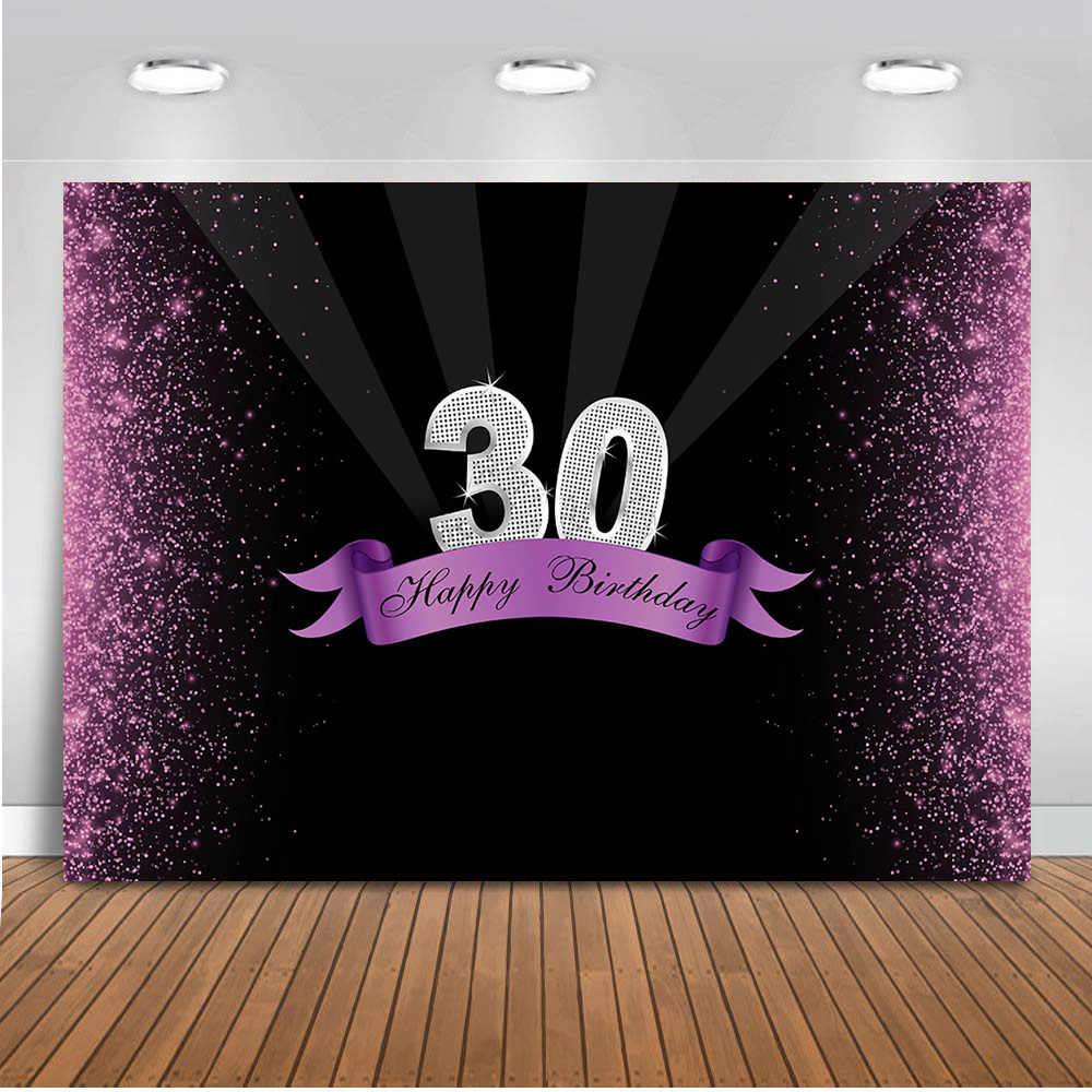 Detail Feedback Questions About Neoback 30th Birthday Party Decoration Banner Bokeh Purple Glitter Photo Background 80s 90s Theme Backdrop For