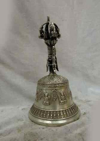 Wan銅シルバー工場中国チベットシルバー彫刻仏キングコング仏教ベル彫刻像