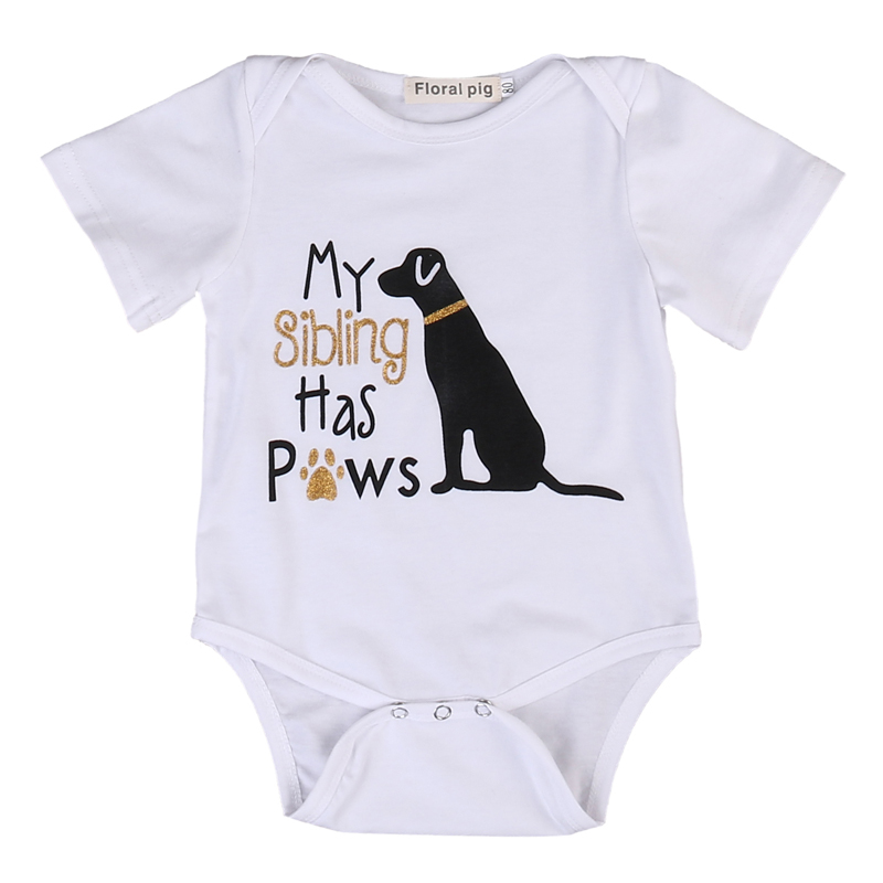 DERMSPE New Casual Newborn Baby Boy Girl Short Sleeve Letter Print My Sibling Has Paws Cute Dog Romper Baby Clothes White