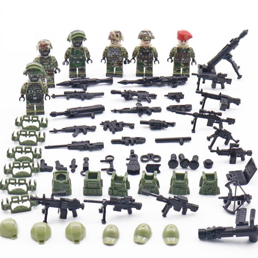 WW2 Soviet Union Spetsnaz Alpha brickmania minifigs building block world war russia army Special Forces figures weapon gun toys