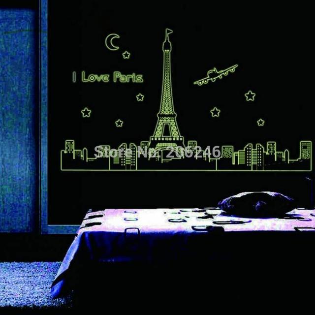 Paris Eiffel Tower Wall Stickers 3d Star Glow Decals Landscape Country Wal Art Zooyoo9602 Home Decorations