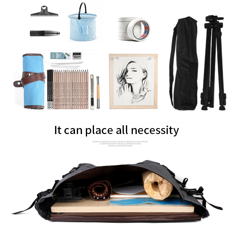 BGLN 1Piece Fashion 4K Light Gray Canvas Portable Sketch Painting Board Large Capacity Travel Shoulder Sketchpad  Drawing Bag