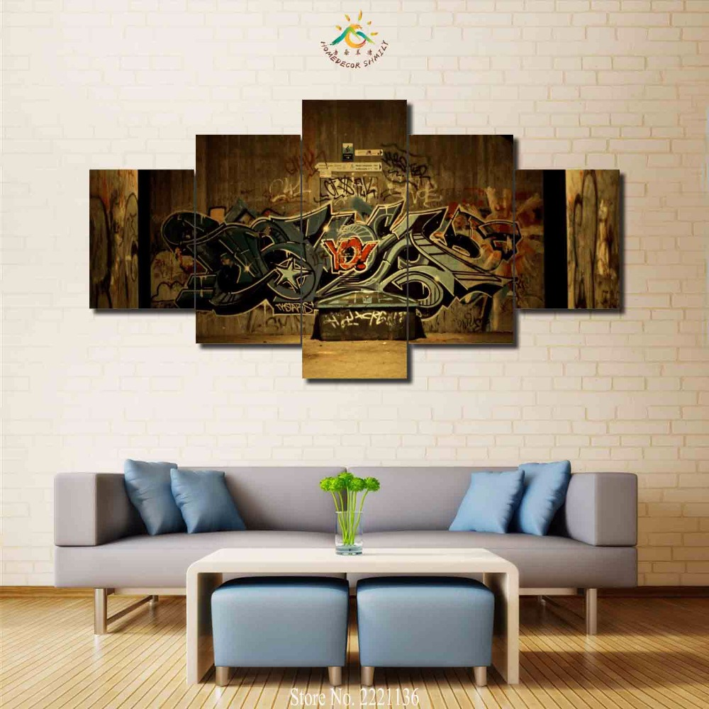 Graffiti art home decor - 3 4 5 Panels Set Classic Graffiti Hd Pinted Paint Home Decoration Living
