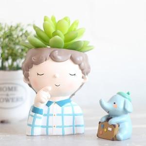 Image 4 - JO LIFE  Home Decoration Carton Succulent Planter Desktop Flower Pot European Style Mini Resin Boy Flower Pot