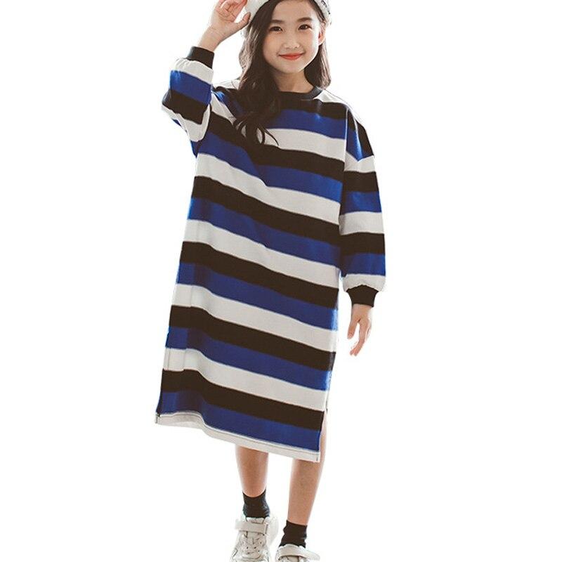 2018 Autumn Girls Dress Striped Long Sleeve Kids Dresses Loose Casual Cotton Children Dress Big Girls Clothes RT176 цена