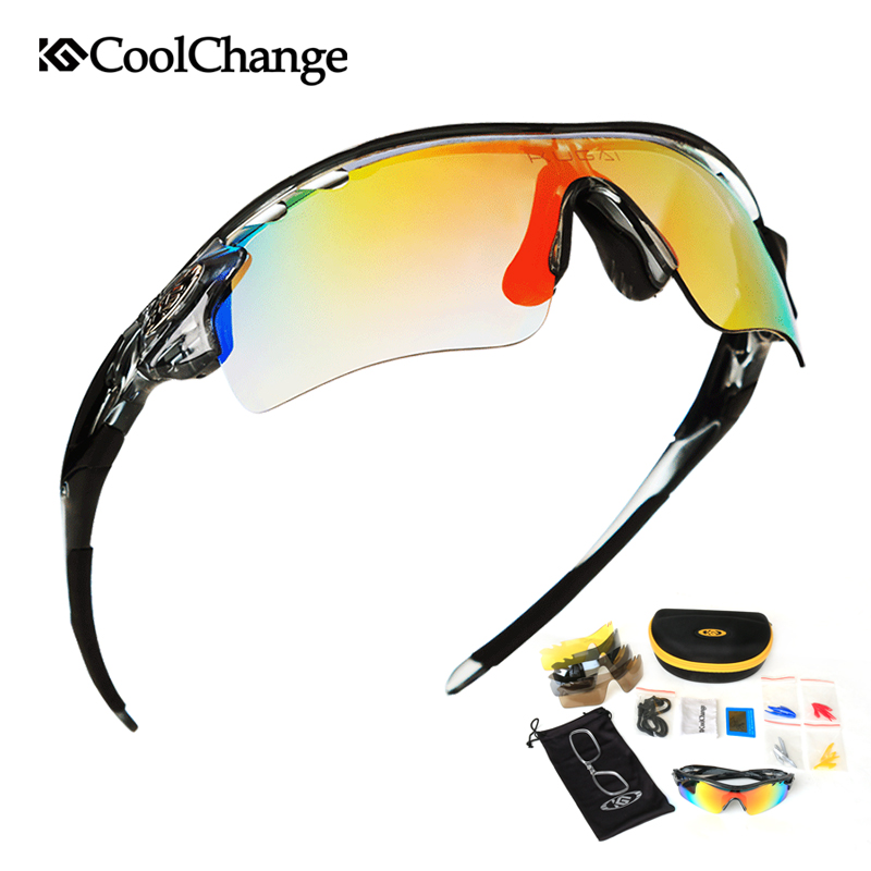 CoolChange polarizado gafas ciclismo bicicleta al aire libre deportes de bicicletas gafas de sol para hombres y mujeres gafas 5 lente marco miopía
