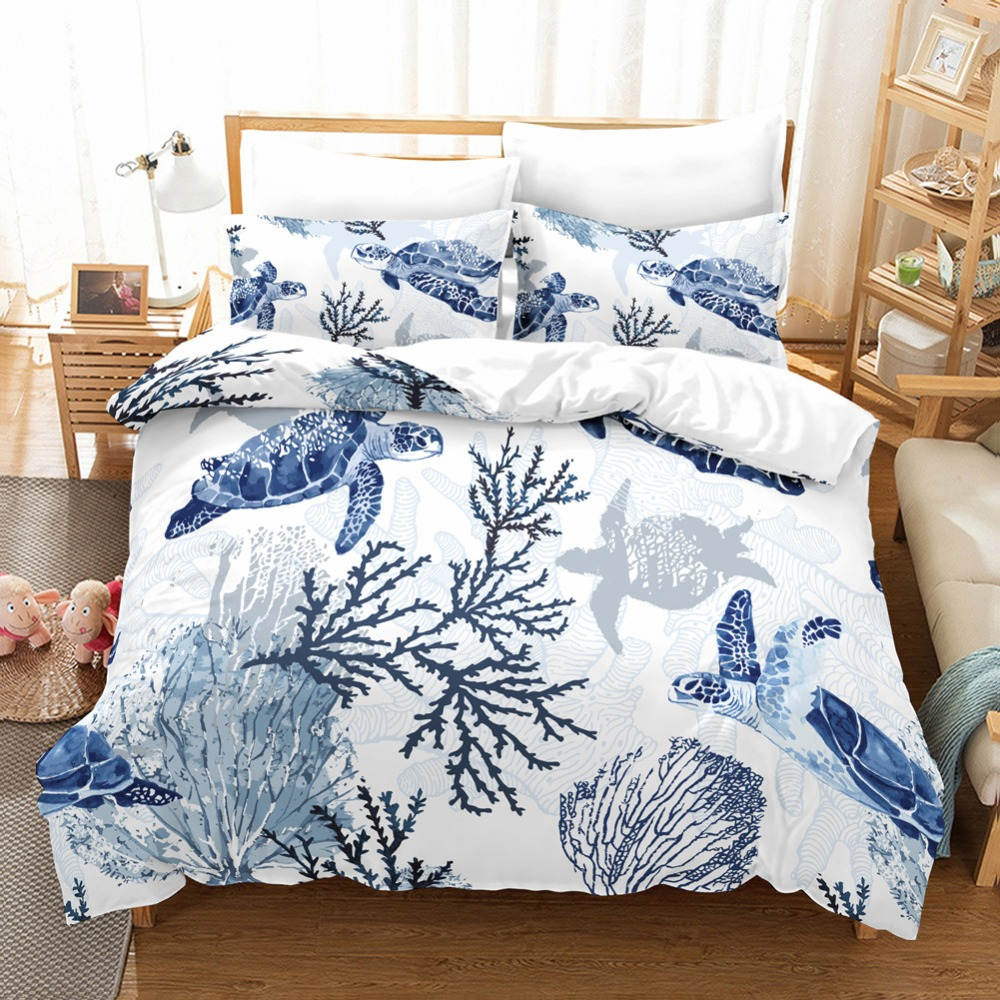 3 Pieces Bedding Set Twin/Queen/King Blue Sea Turtles Graphic Duvet Cover Pillowcase Unfading Stain Resistant Machine Washable