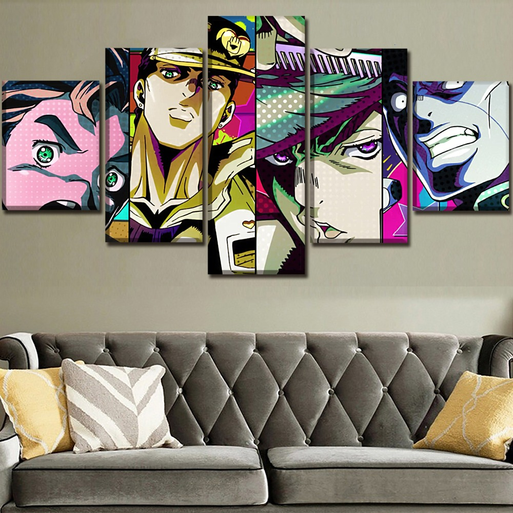Collection  Modern Artwork 5 Pieces Anime Jojo's Bizarre Adventure Posters Canvas HD Printed Decorative Wall Ar
