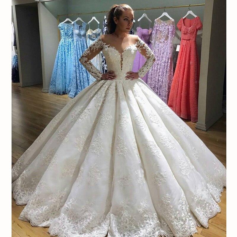 Glamour De Mariée À Manches Longues Robes De Bal Élégant Dentelle Appliques Robe De Mariée Sur Mesure Classique O-cou Maxi Longues Robes