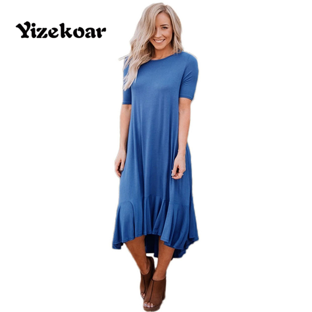 c101eb108133 Yizekoar Women Cascading Flowy Ruffles Jersey Dress Short Sleeve High-low  Hemline Fashion Casual Midi Dresses