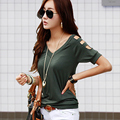 Plus Size 2016 New Fashion T-shirt women tops tees summer Off shoulder t-shirt Cotton tshirt Sexy Lady clothes Hot Sale  D550